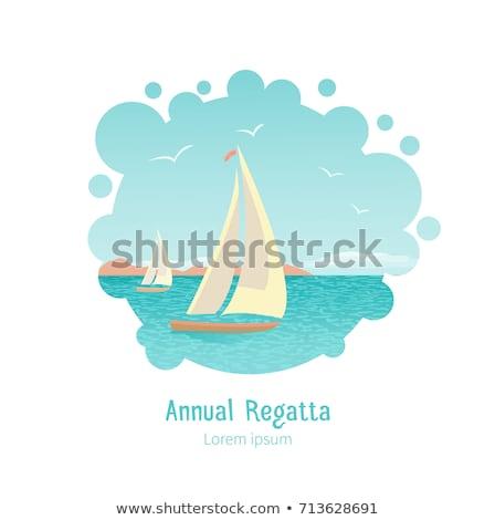 парусного плакат группа рыбалки лодках коммерческих Сток-фото © studioworkstock
