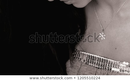 beautiful woman wearing chain jewellery in black and white photo Stock photo © zdenkam