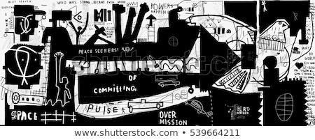 Ragazzo pittura graffiti muro adolescente camera da letto Foto d'archivio © IS2