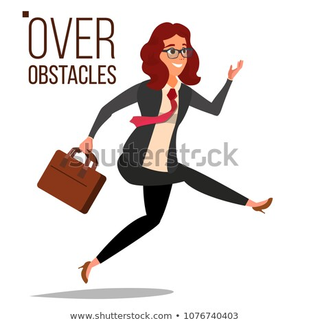 Business Woman Jumping Over Obstacles Vector. Leader. Competing Race. Overcoming Obstacles, Achievin Stock photo © pikepicture