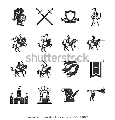 średniowiecznej · banner · rycerz · konia · powrót - zdjęcia stock © krisdog