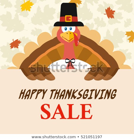 Foto d'archivio: Happy Pilgrim Turkey Bird Cartoon Mascot Character Holding A Happy Thanksgiving Sign