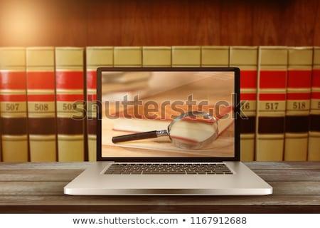 portable · écran · grand · livres · bois - photo stock © wavebreak_media