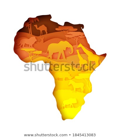 Africa map animal. flora and fauna. Vector illustration Stock photo © popaukropa