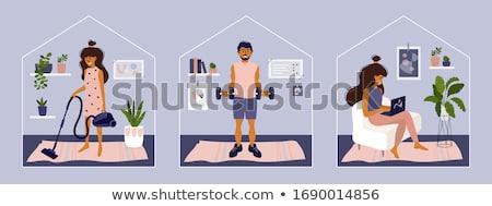 Conjunto trabalhos domésticos atividades ilustração arte cozinhar Foto stock © bluering