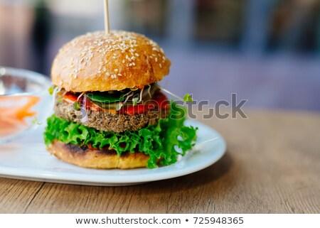 Ev yapımı vejetaryen Burger akşam yemeği biftek yemek Stok fotoğraf © M-studio