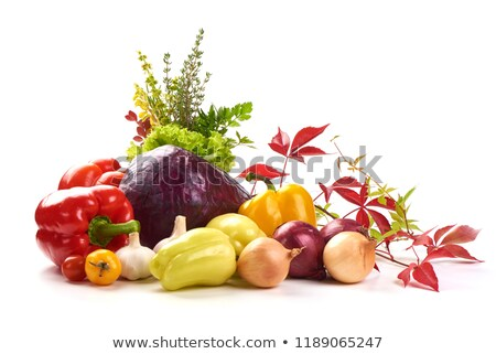 Foto stock: Conjunto · legumes · frescos · pimenta · alho · pimenta
