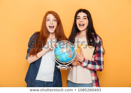 diák · könyvtár · boldog · nő · keresés · könyv - stock fotó © deandrobot