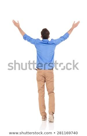 Powrót człowiek spaceru zwycięstwo widok z tyłu Zdjęcia stock © feedough