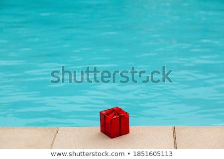boldog · nyár · nő · napszemüveg · medence · portré - stock fotó © milanmarkovic78