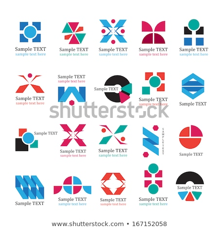 blue and red v shaped icon for letter n vector illustration stock photo © cidepix