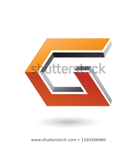 Grey and Orange 3d Angled Icon for Letter G Vector Illustration Stock photo © cidepix