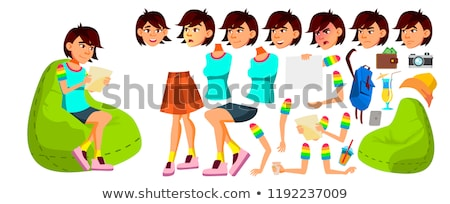 Asian Teen Girl Vector. Animation Creation Set. Face Emotions, Gestures. Funny, Friendship. Animated Stock photo © pikepicture