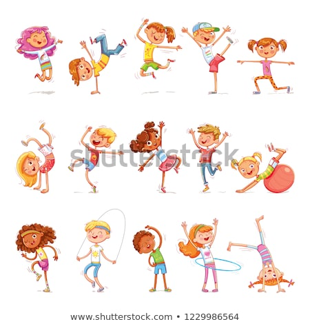 Children Are Engaging In Fitness In The Gym Vector. Sport. Healthy. Isolated Illustration Stock photo © pikepicture