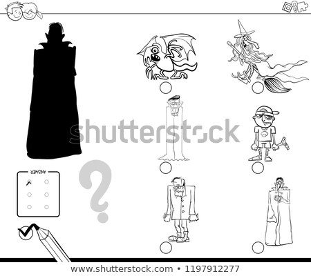 shadow game with funny halloween characters color book stock photo © izakowski