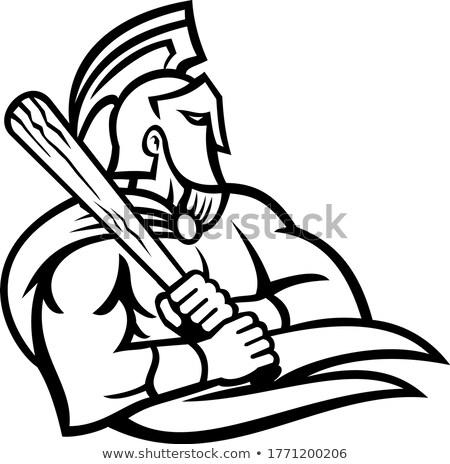 Trojaans krijger honkbalspeler mascotte icon illustratie Stockfoto © patrimonio