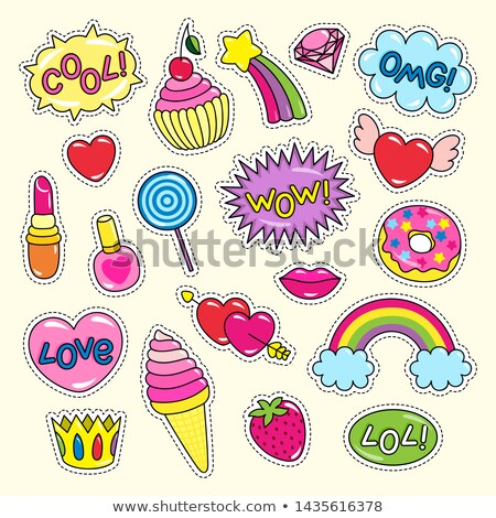 Bright Girlish Stickers in Pink and Red Colors Set Stock photo © robuart