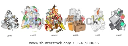 E-Waste and Glass Waste Set Vector Illustration Stock photo © robuart