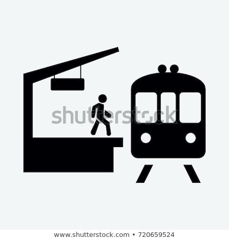 Pessoas estação de trem ilustração sorrir feliz homens Foto stock © artisticco