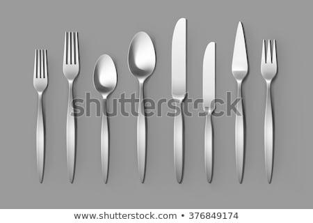 Asztal ezüst étkészlet kés villa kanalak felső Stock fotó © karandaev