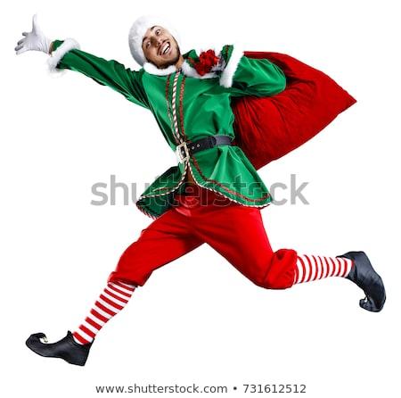 Wesoły christmas mały elf dar obecnej Zdjęcia stock © ori-artiste