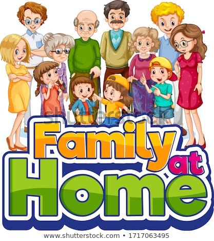 Familia casa ilustración hombre casa fondo Foto stock © colematt