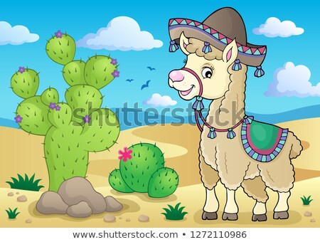 Llama in sombrero theme 2 Stock photo © clairev
