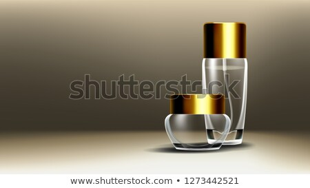 cosmetic glass poster vector jar face care facial lotion 3d isolated transparent realistic mocku stock photo © pikepicture