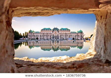Belvedere in Vienna water reflection view at sunset Stock photo © xbrchx