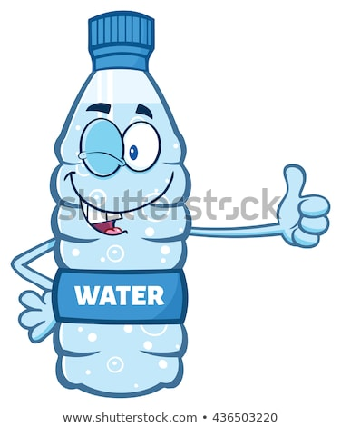 Foto stock: Smiling Water Plastic Bottle Cartoon Mascot Character Winking And Holding A Thumb Up