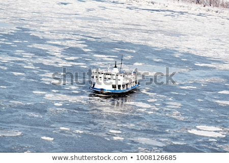 Passenger Ferry crosses the frozen St Lawrence river from Levis to Quebec City Stock photo © Lopolo