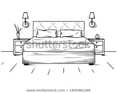 floor plan with furniture hand drawn outline doodle icon stock photo © rastudio