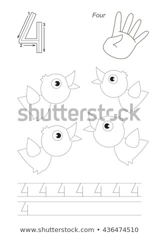 Number four tracing alphabet worksheets Stock photo © colematt