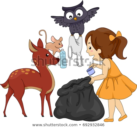Kid Girl Animals Proper Garbage Disposal Stock photo © lenm