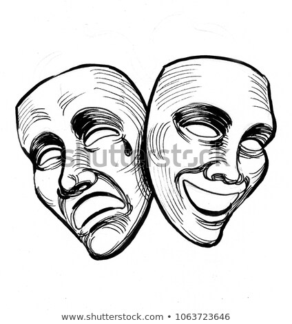 Sketch of theatrical masks. Tragedy and comedy. Stock photo © Arkadivna