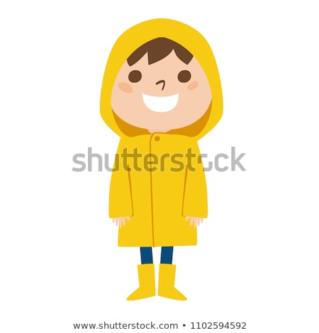 Children wearing raincoats in rainy season Stock photo © colematt
