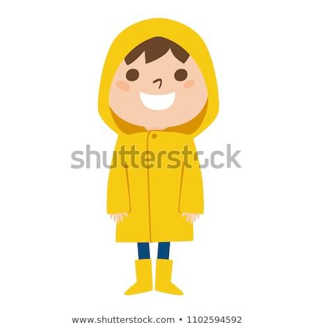 Stockfoto: Children Wearing Raincoats In Rainy Season