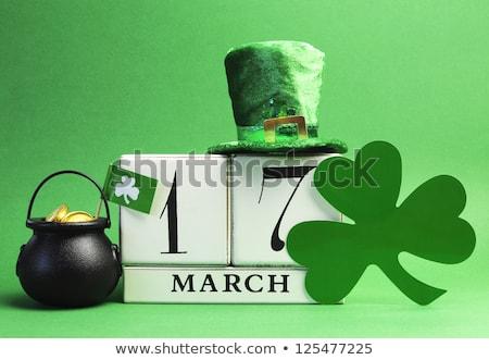 calendario · día · de · san · patricio · 17 · verde · cerveza · olla - foto stock © grafvision