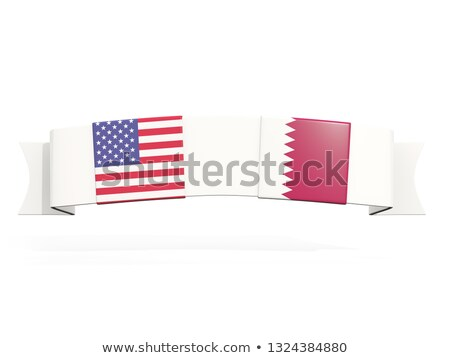 Banner with two square flags of United States and qatar Stock photo © MikhailMishchenko