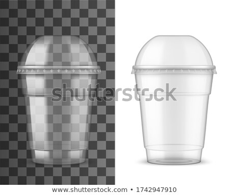 Plastic Cup Transparent Vector. Product Packing. Drink Mug. Disposable Tableware Clear Empty Contain Stock photo © pikepicture