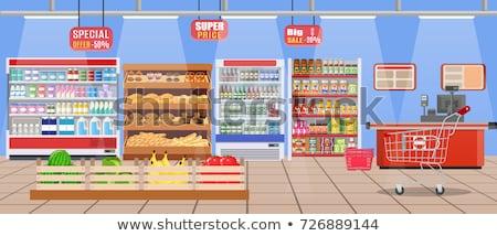 Supermarket kasjer zestaw wektora Licznik klienta Zdjęcia stock © robuart