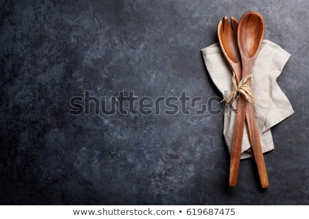 Stockfoto: Vintage Kitchen Wooden Utensils Over Black Cloth On Stone Table Background Top View