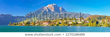 Coast of Lake Lucerne and Pilatus mountain panoramic view Stock photo © xbrchx