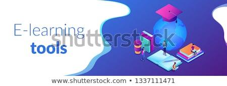webinar · isométrica · 3D · bandeira · estudantes - foto stock © rastudio