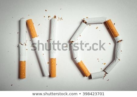 Stop słowo papierosów biały tle dymu Zdjęcia stock © AndreyPopov