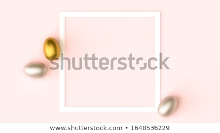 Stok fotoğraf: Spring Easter Card Template With Gold Luxury Eggs