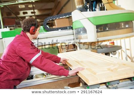 timmerman · elektrische · permanente · oor · bescherming · man - stockfoto © cookelma