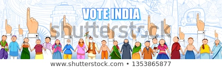 People of different religion showing voting finger for General Election of India Stock photo © vectomart
