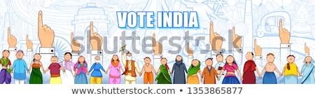 Emberek különböző vallás mutat szavazás ujj Stock fotó © vectomart