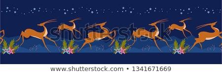 Set of gazelle design Stock photo © colematt